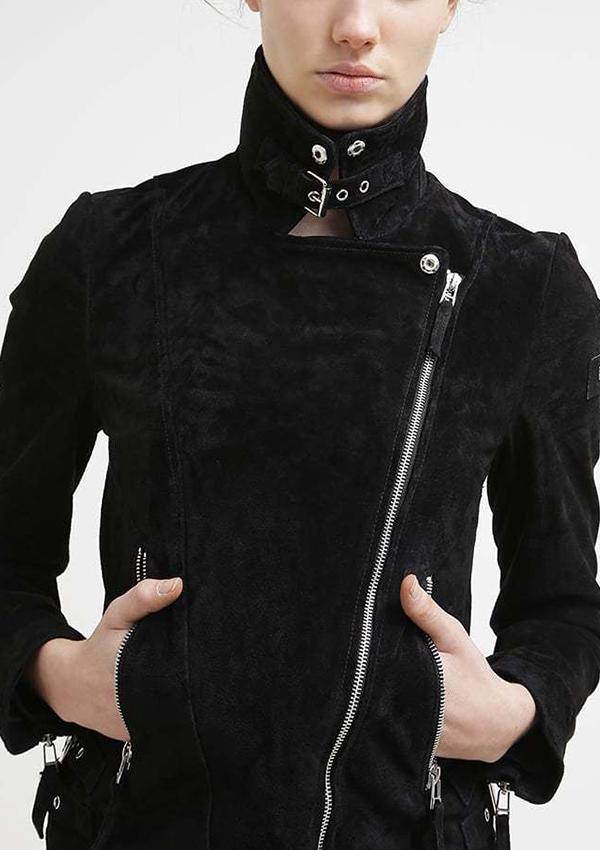 19c53f6e24a3b Abigail Black Suede Biker Women Leather Jacket - Zakiz London