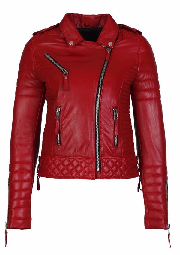 6a51e850e6ff5 Alexa Red Biker Motorcycle Women Leather Jacket - Zakiz London