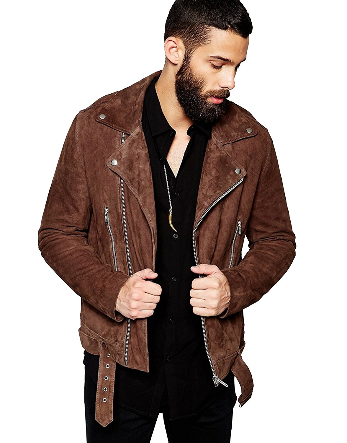 Dennis Men Brown Suede Leather Biker Jacket Zakiz London