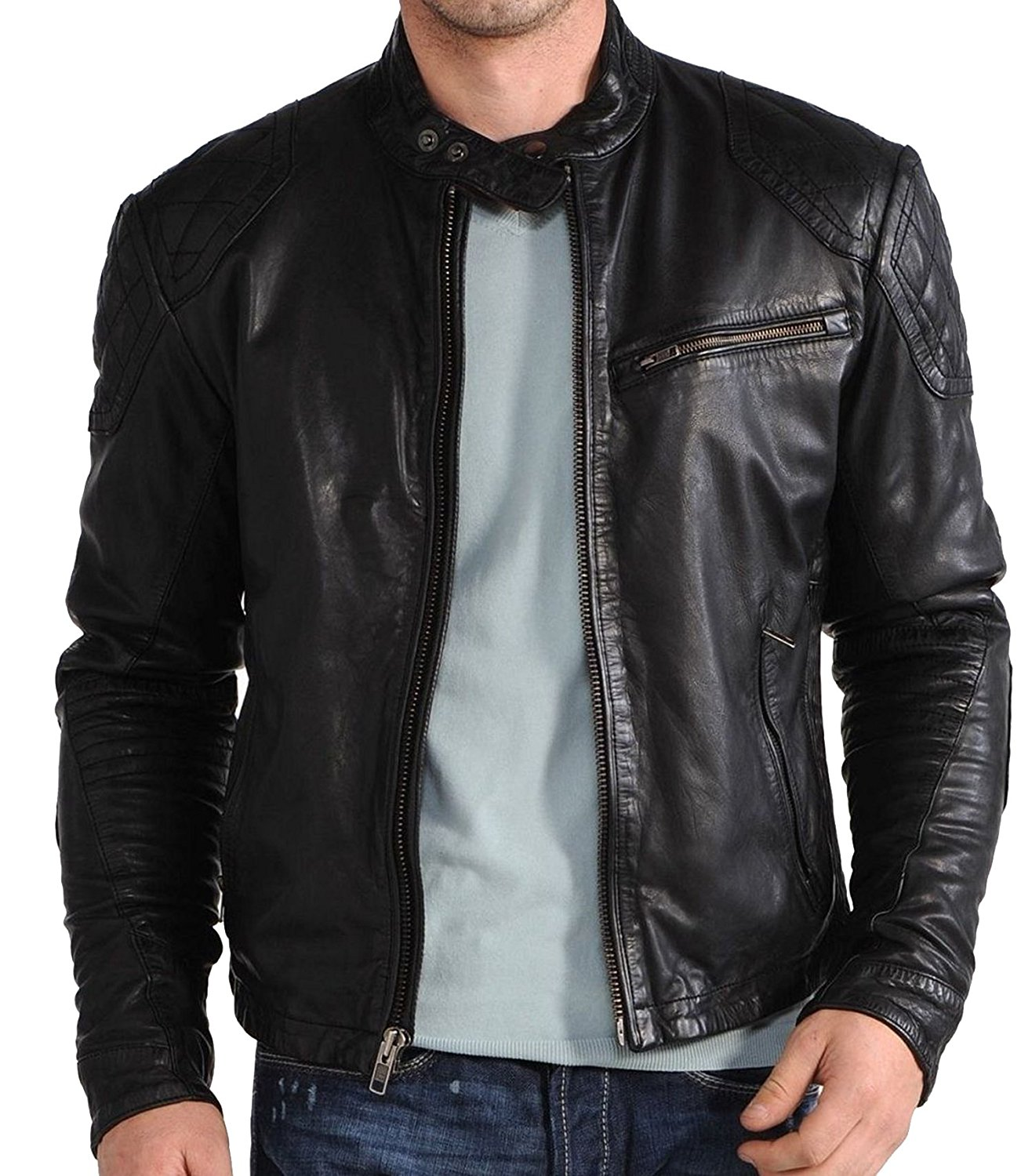 c3e1831ab Andrew Mens Slim fit biker leather jacket - Zakiz London