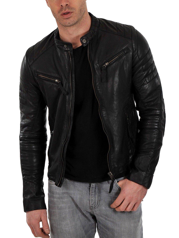 Robert Men Black Biker Leather Jacket Zakiz London