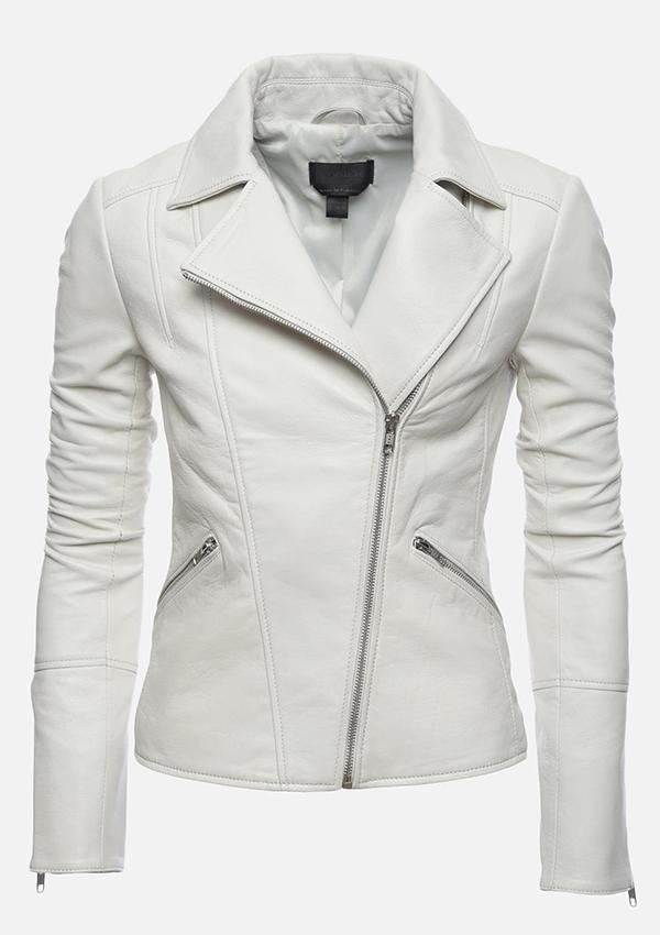 deebfd5f8 Ariana White Women Biker Motorcycle Leather Jacket