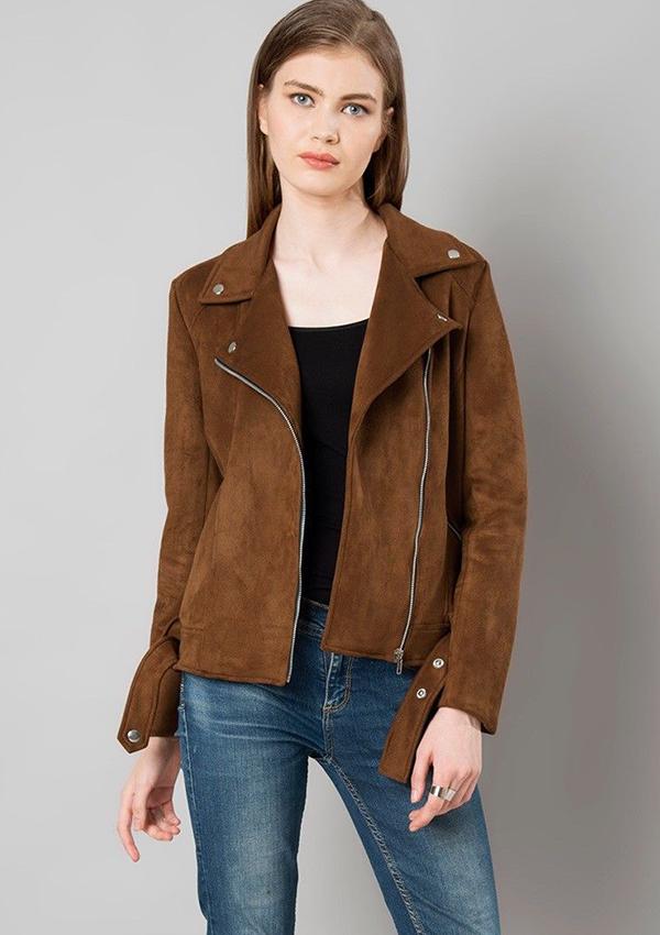 Penelope Women Brown Suede Leather Jacket Zakiz London